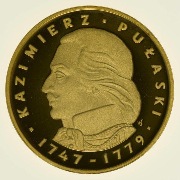 Polen Pulaski 500 Zloty 1976 PP Gold 26,96 Gramm fein RAR