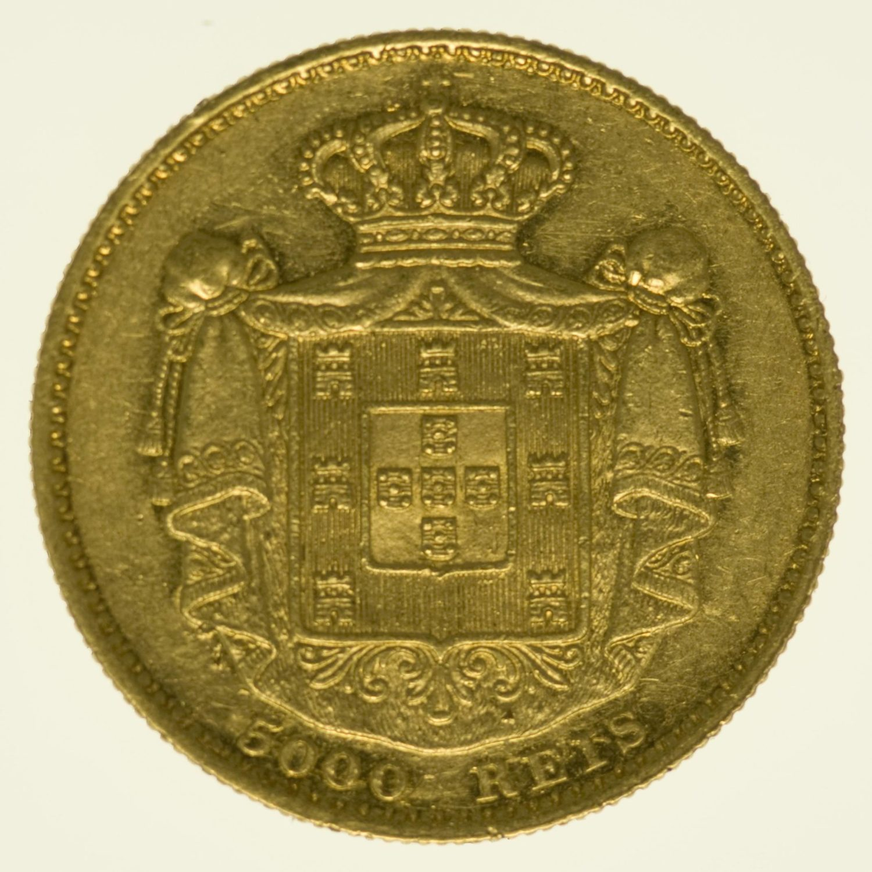 Portugal Ludwig I. 5000 Reis 1869 Gold 8,13 Gramm fein RAR