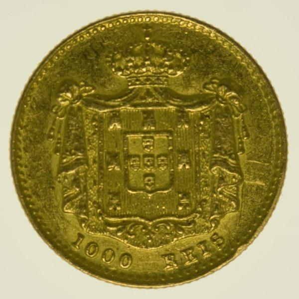 Portugal Maria II. 1000 Reis 1851 Gold 1,64 Gramm fein RAR