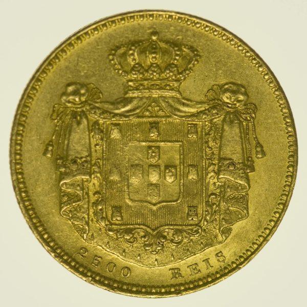 Portugal Maria II. 2500 Reis 1851 Gold 4,11 Gramm fein RAR
