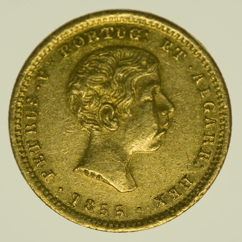 Portugal Peter V. 1000 Reis 1855 Gold 1,63 Gramm fein RAR
