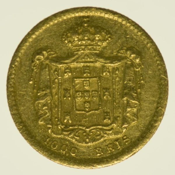 Portugal Peter V. 1000 Reis 1855 Gold 1,63 Gramm fein RAR