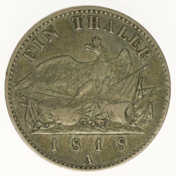 Preussen Friedrich Wilhelm III. Taler 1818 A Silber 16,70 Gramm fein RAR