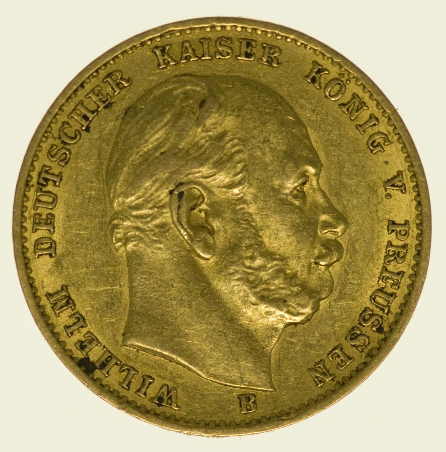 Preussen Wilhelm I. 10 Mark 1872 B Gold 3,58 Gramm fein RAR