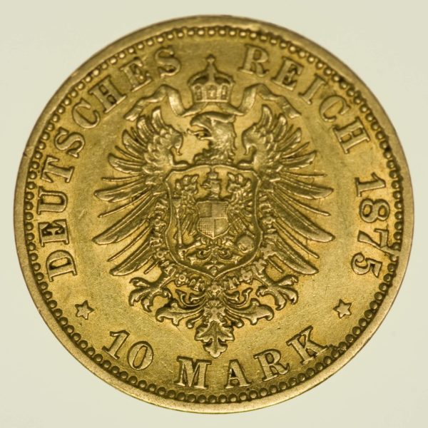 Preussen Wilhelm I. 10 Mark 1875 A Gold 3,58 Gramm fein RAR