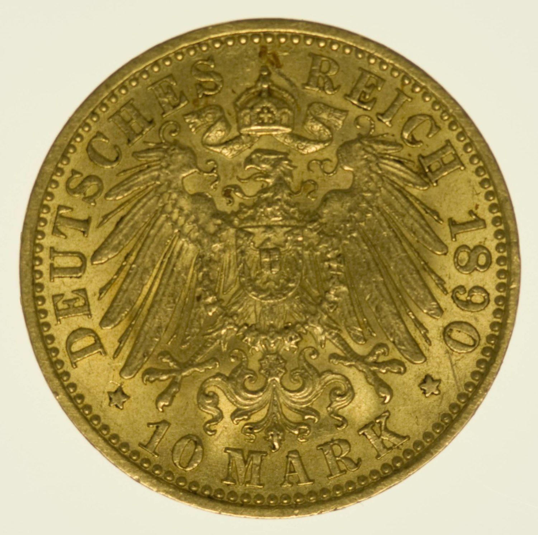 Preussen Wilhelm II. 10 Mark 1890 A Gold 3,58 Gramm fein RAR