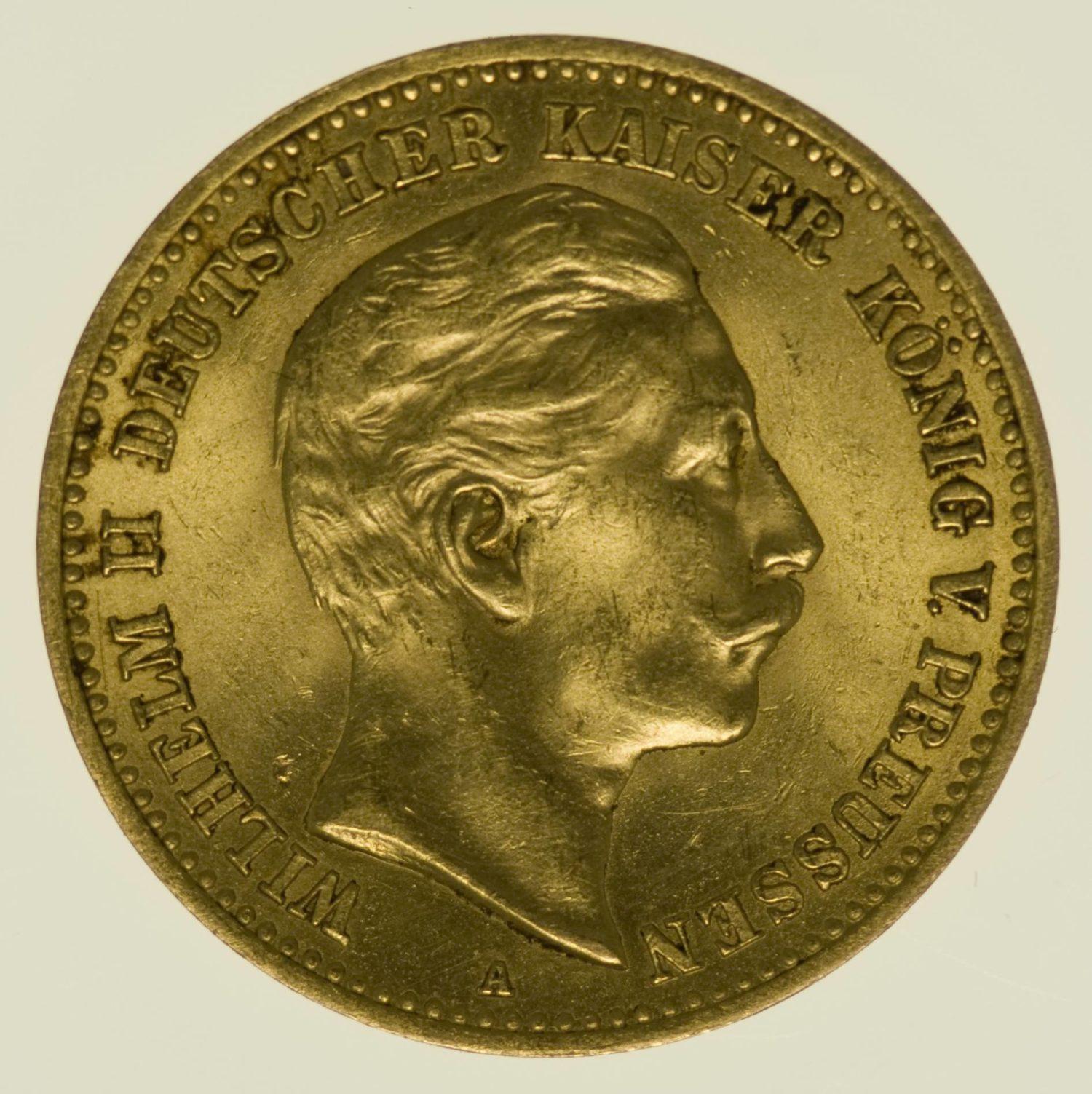 Preussen Wilhelm II. 10 Mark 1893 A Gold 3,58 Gramm fein RAR