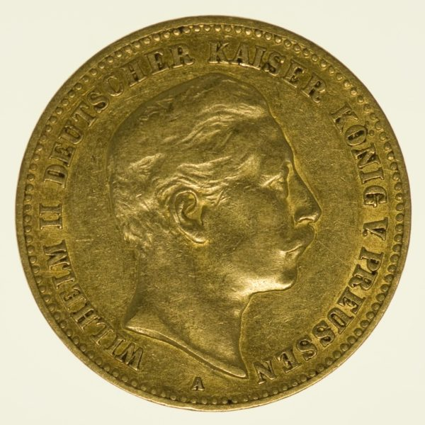Preussen Wilhelm II. 10 Mark 1898 A Gold 3,58 Gramm fein RAR