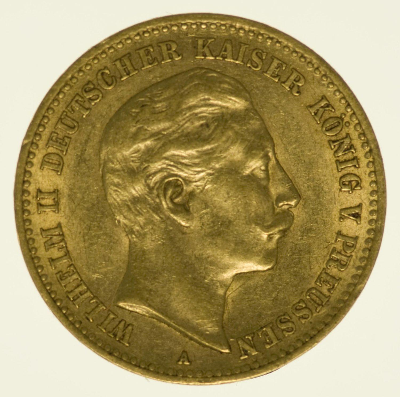 Preussen Wilhelm II. 10 Mark 1905 A Gold 3,58 Gramm fein RAR