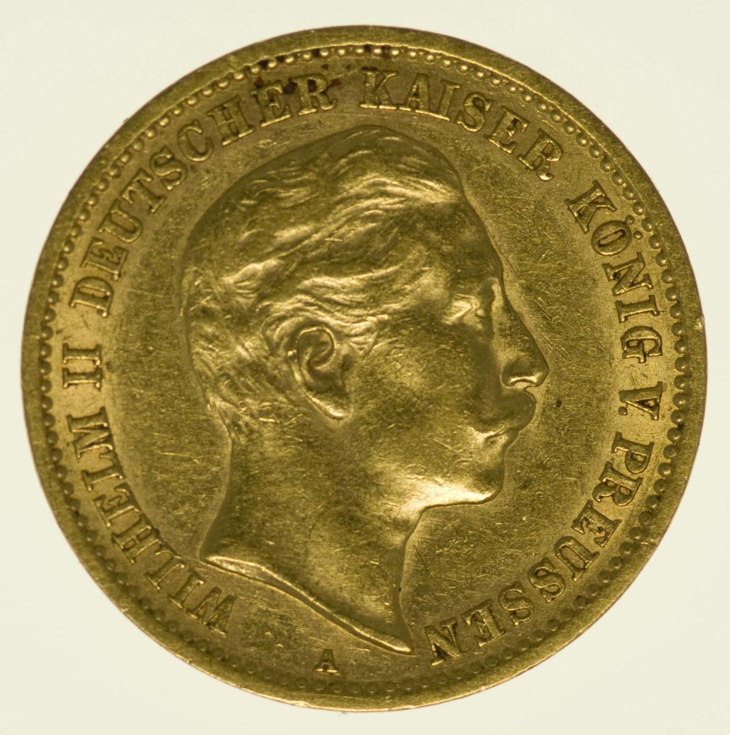 Preussen Wilhelm II. 10 Mark 1906 A Gold 3,58 Gramm fein RAR