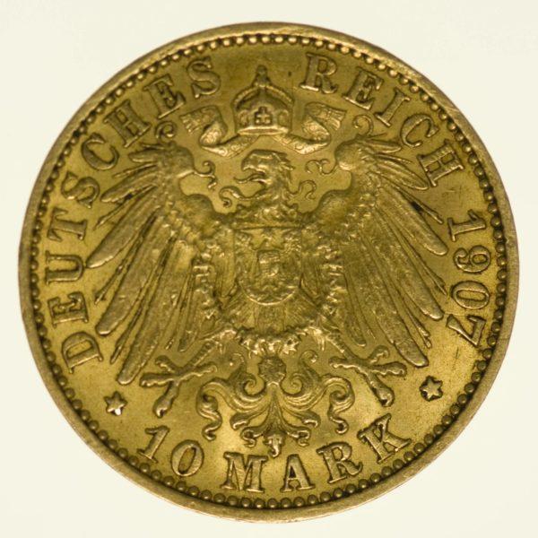 Preussen Wilhelm II. 10 Mark 1907 A Gold 3,58 Gramm fein RAR