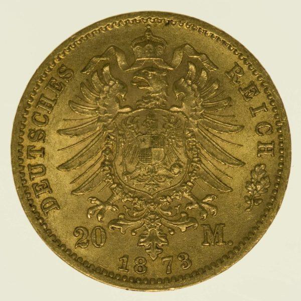 Preussen Wilhelm I. 20 Mark 1873 A Gold 7,16 Gramm fein RAR