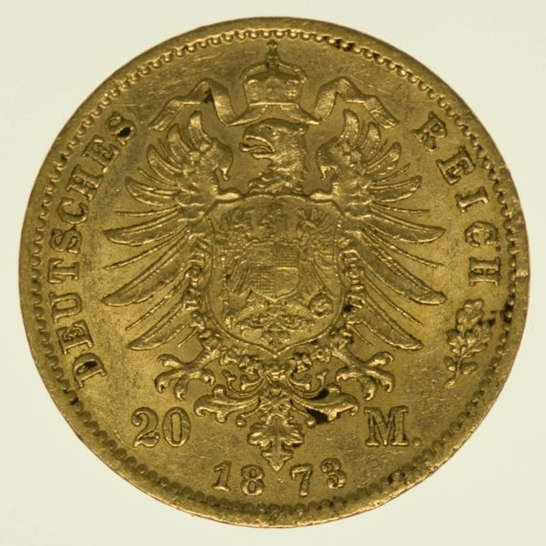 Preussen Wilhelm I. 20 Mark 1873 C Gold 7,16 Gramm fein RAR