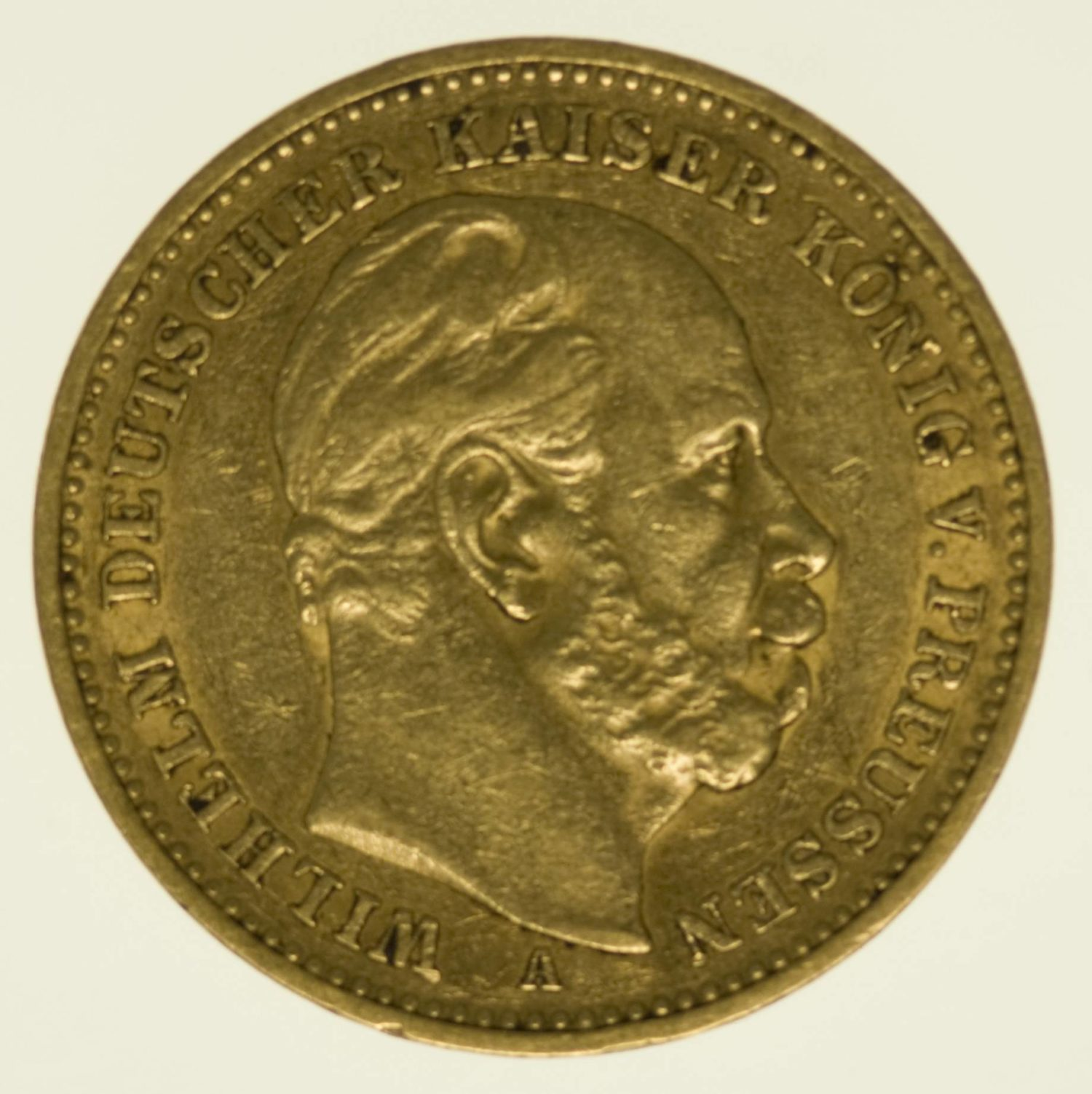 Preussen Wilhelm I. 20 Mark 1887 A Gold 7,16 Gramm fein RAR