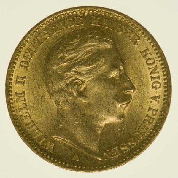 Preussen Wilhelm II. 20 Mark 1900 A Gold 7,16 Gramm fein RAR