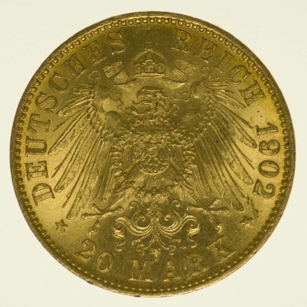 Preussen Wilhelm II. 20 Mark 1901 A Gold 7,16 Gramm fein RAR