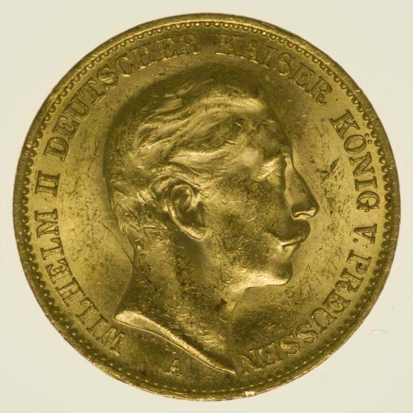 Preussen Wilhelm II. 20 Mark 1912 A Gold 7,16 Gramm fein RAR