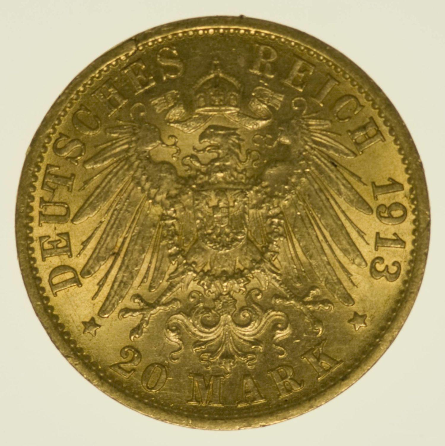 Preussen Wilhelm II. 20 Mark 1913 A Uniform Gold 7,16 Gramm fein RAR
