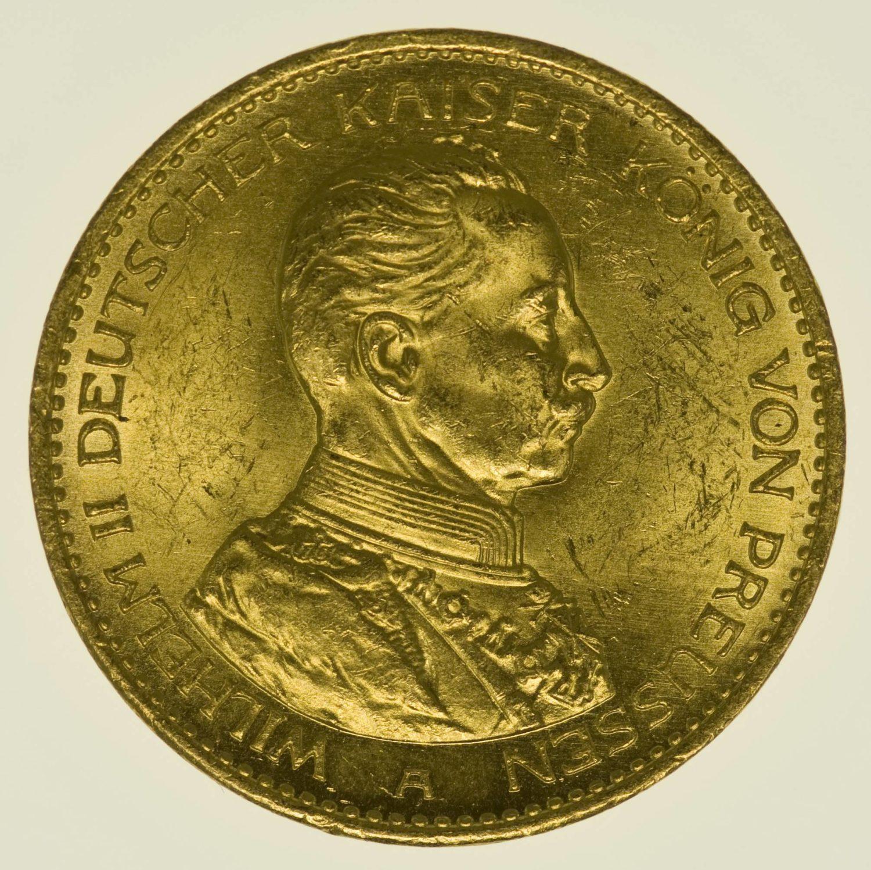 Preussen Wilhelm II. 20 Mark 1914 A Uniform Gold 7,16 Gramm fein RAR