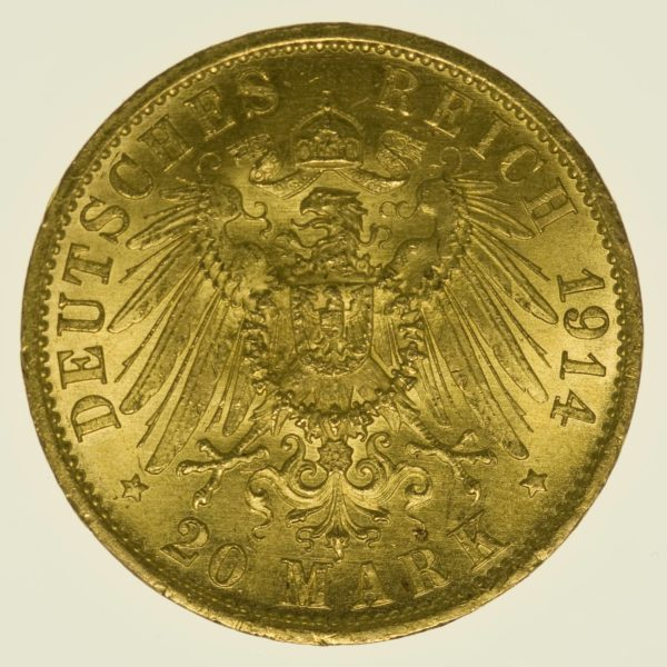 Preussen Wilhelm II. 20 Mark 1914 A Uniform Gold 7,16 Gramm fein RAR