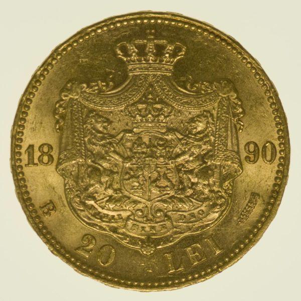 Rumänien Karl I. 20 Lei 1890 Gold 5,81 Gramm fein RAR