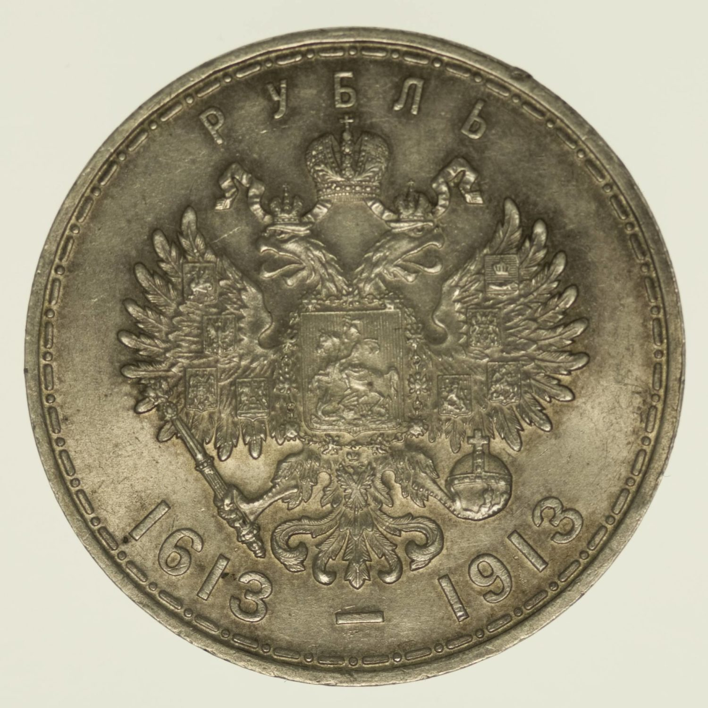 Russland Nikolaus II. Rubel 1913 Silber 18 Gramm fein RAR