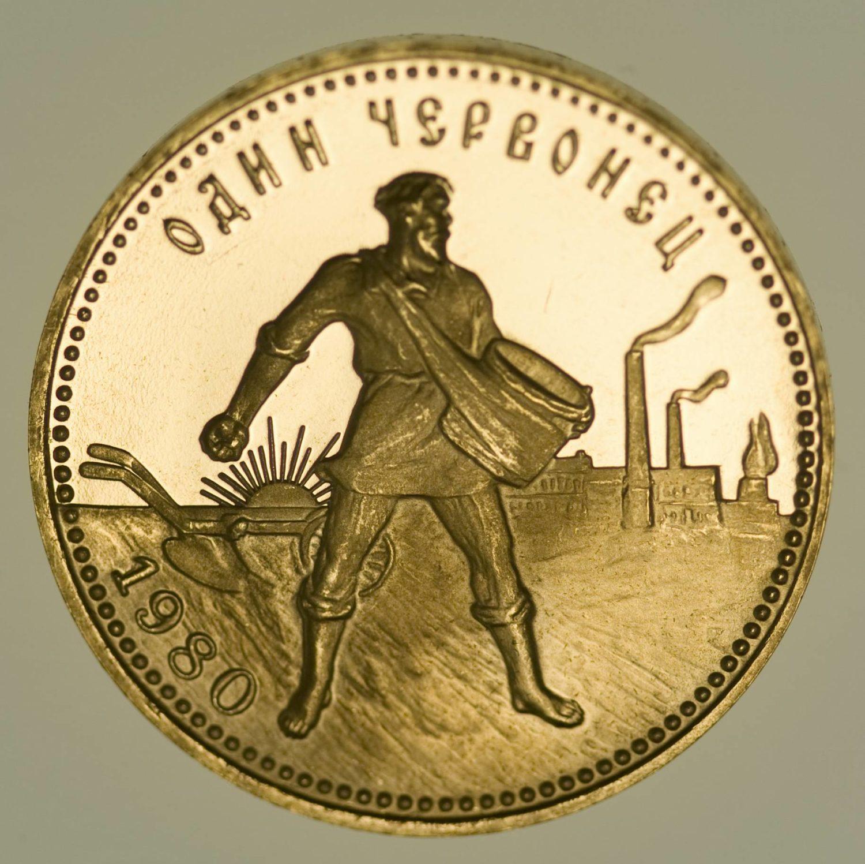 Russland Sowjetunion 10 Rubel Tscherwonez 1980 PP Gold 7,74 Gramm fein RAR