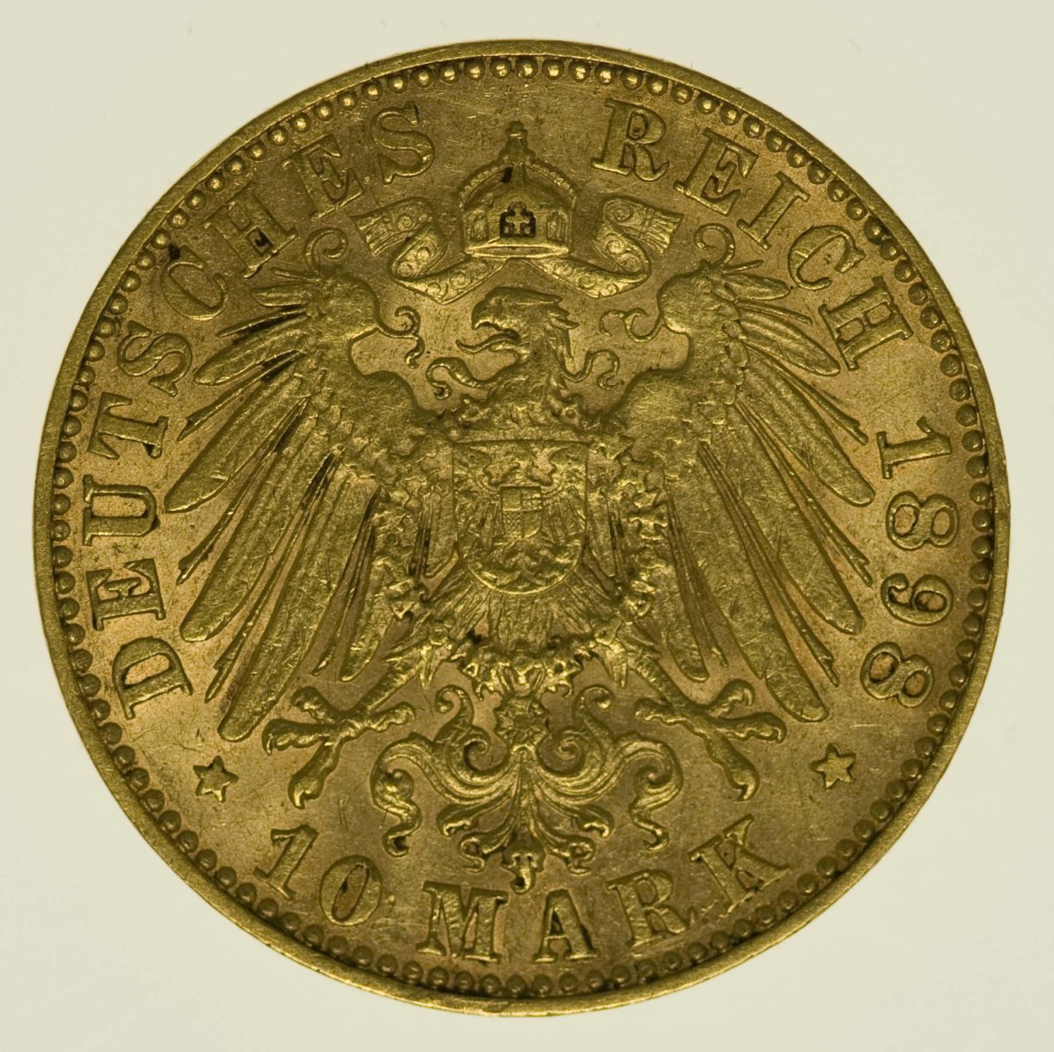 Sachsen Albert 10 Mark 1898 Gold 3,58 Gramm fein RAR