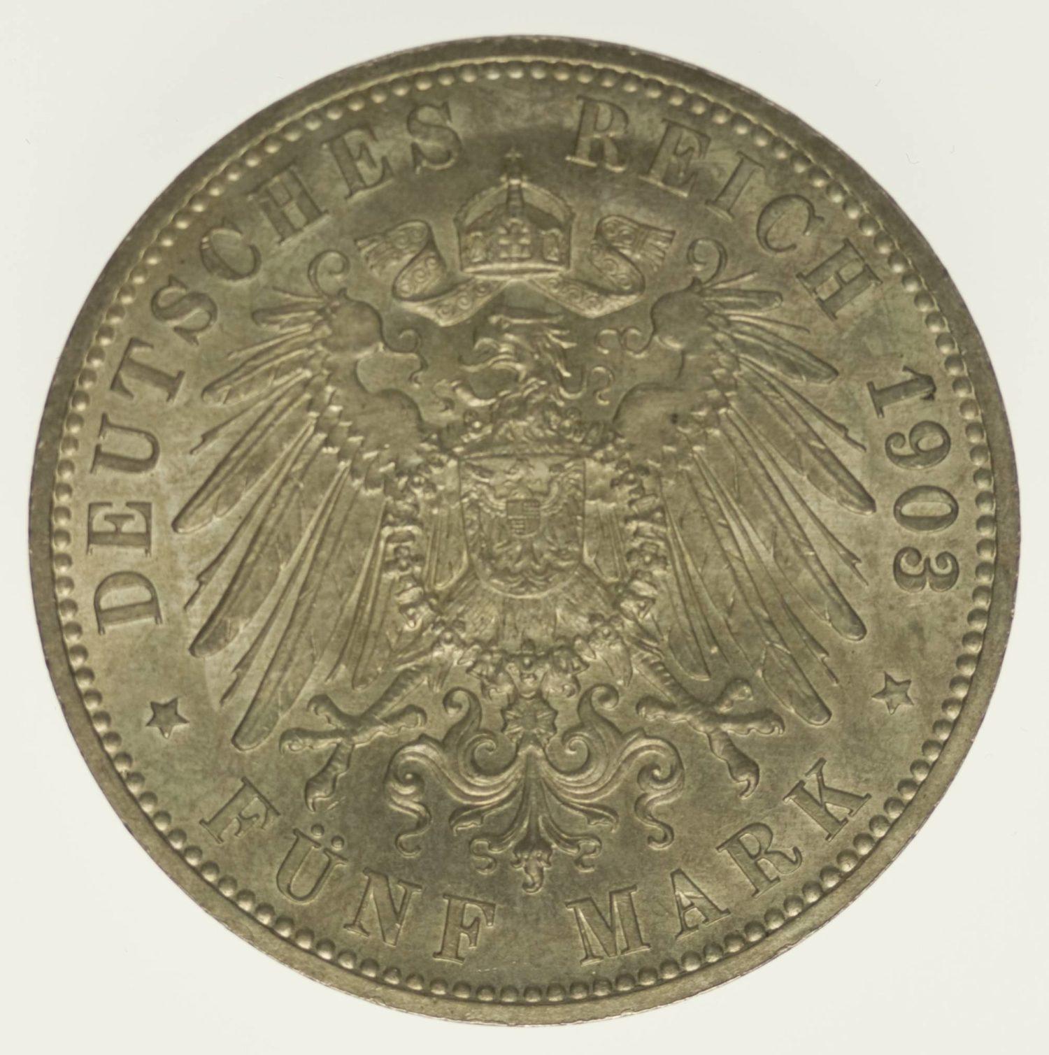 Sachsen Altenburg Ernst 5 Mark 1903 Silber 25 Gramm fein RAR