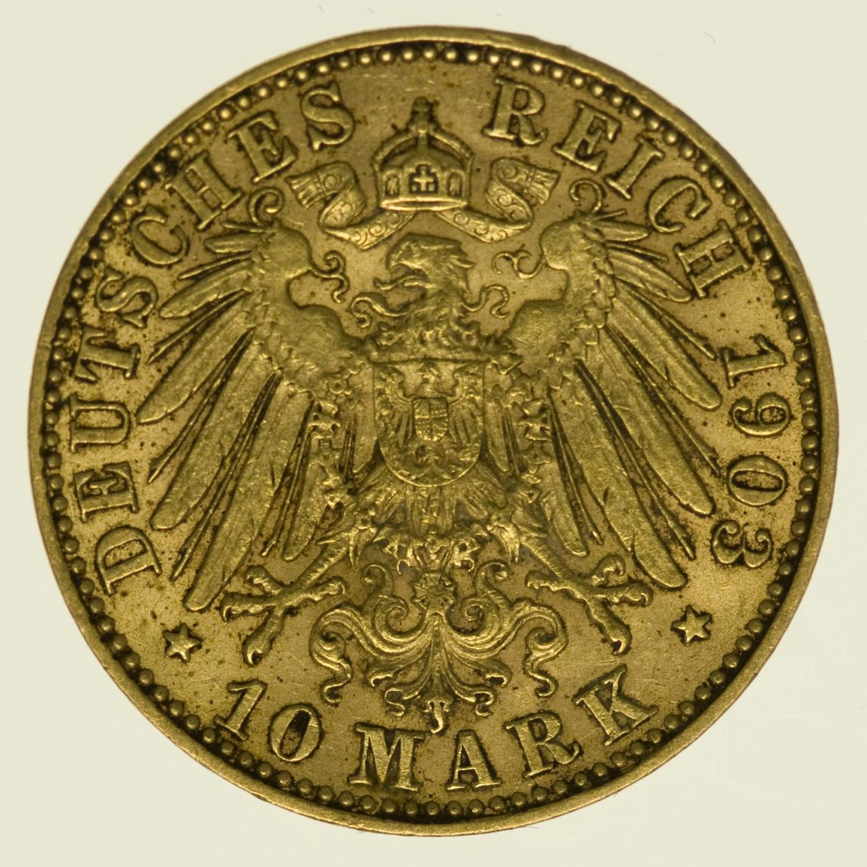 Sachsen Georg 10 Mark 1903 Gold 3,58 Gramm fein RAR