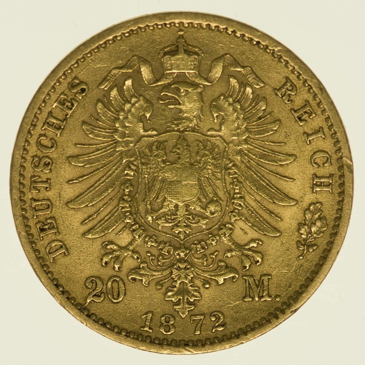 Sachsen Johann 20 Mark 1872 Gold 7,16 Gramm fein RAR