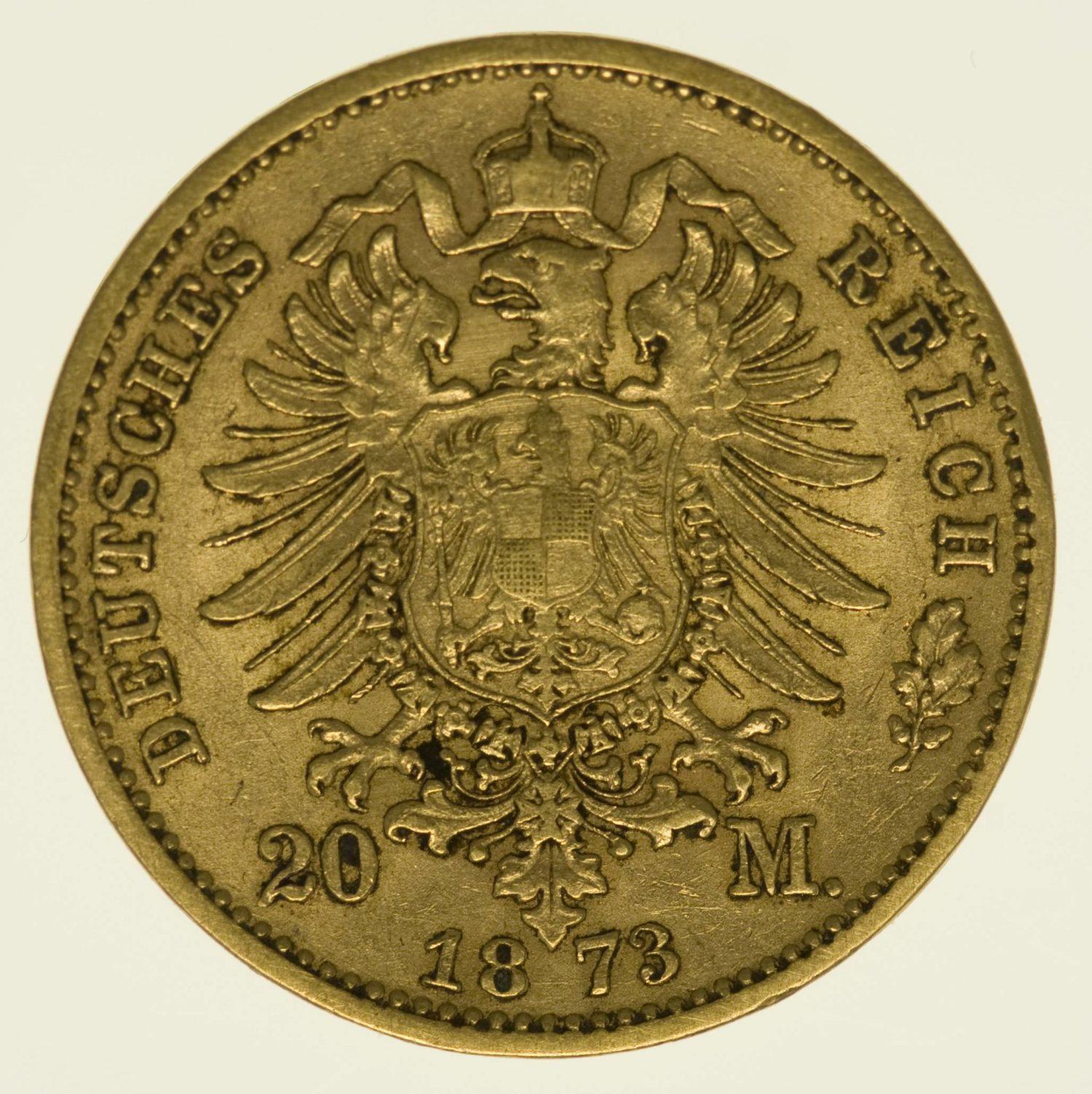 Sachsen Johann 20 Mark 1873 Gold 7,16 Gramm fein RAR