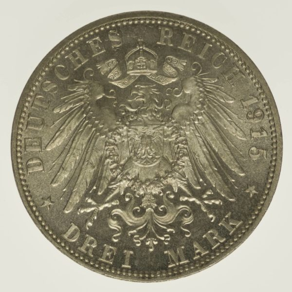 Sachsen Meiningen Georg II. 3 Mark 1915 Silber 15 Gramm fein RAR