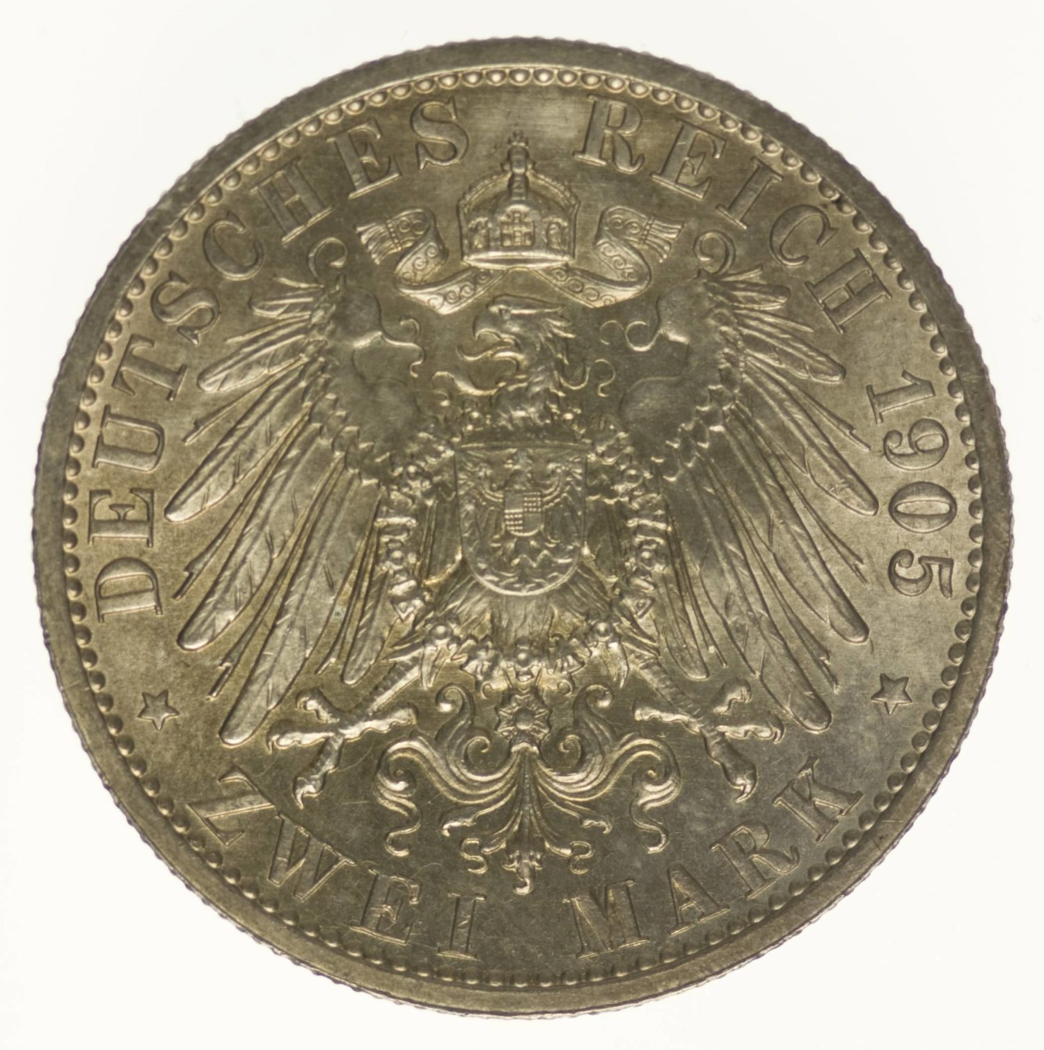 Schwarzburg Sondershausen Karl Günther 2 Mark 1905 Silber 10 Gramm fein RAR