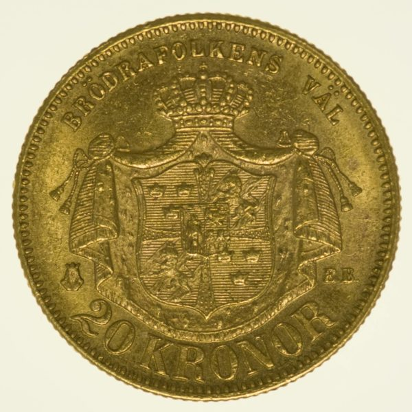Schweden Oskar II. 20 Kronen 1877 Gold 8,06 Gramm fein RAR