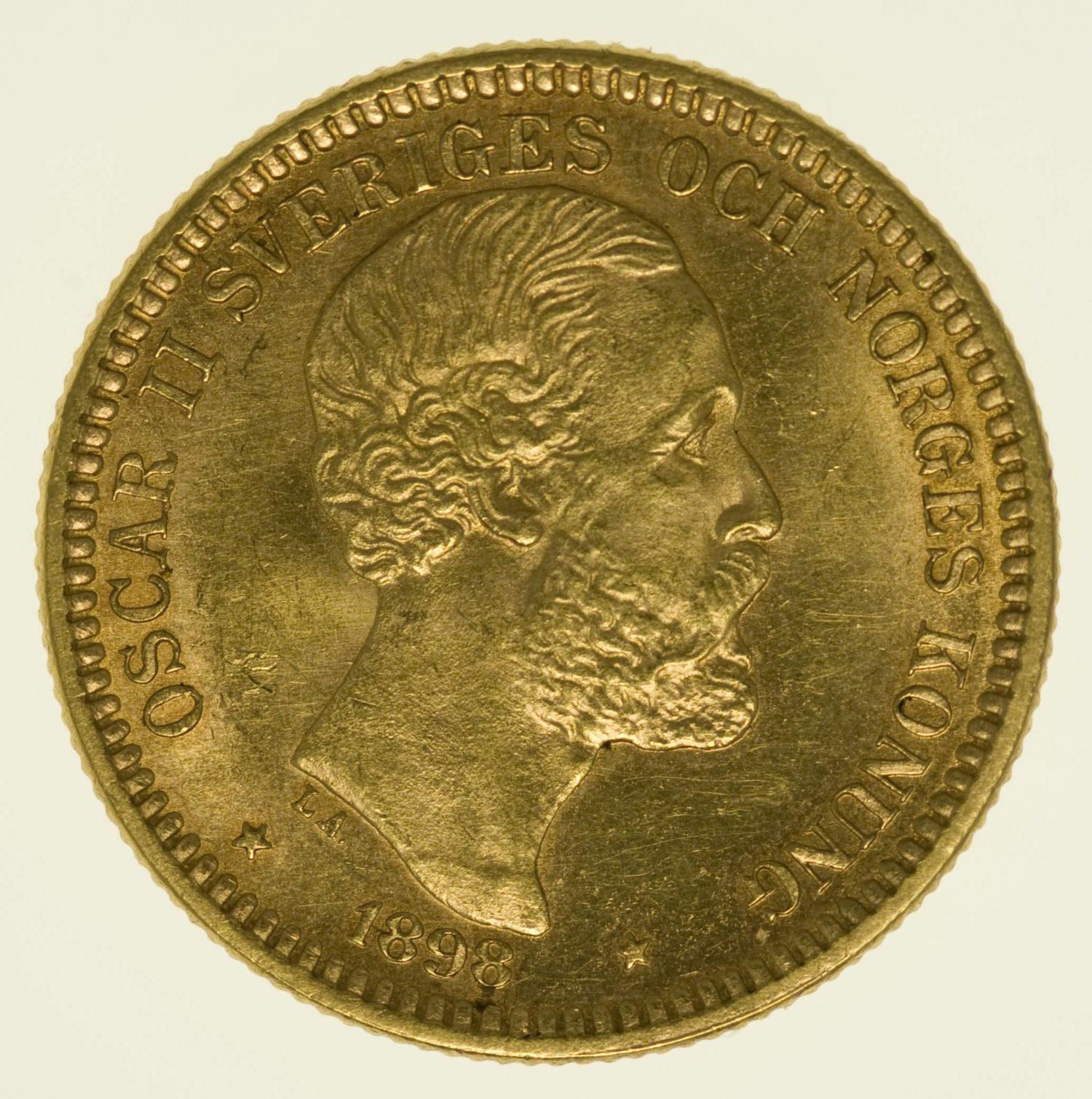 Schweden Oskar II. 20 Kronen 1898 Gold 8,06 Gramm fein RAR