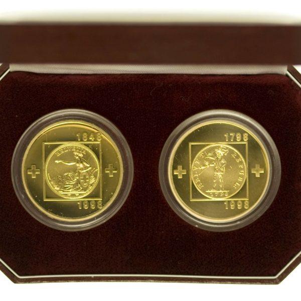 Schweiz 100 Franken Helvetik 100 Franken Bundesstaat Set Gold 40,64 Gramm RAR