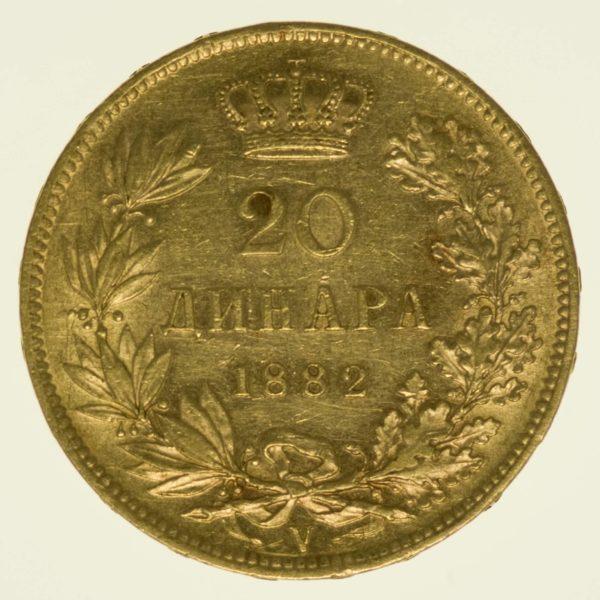 Serbien Milan I. 20 Dinara 1882 Gold 5,81 Gramm fein RAR