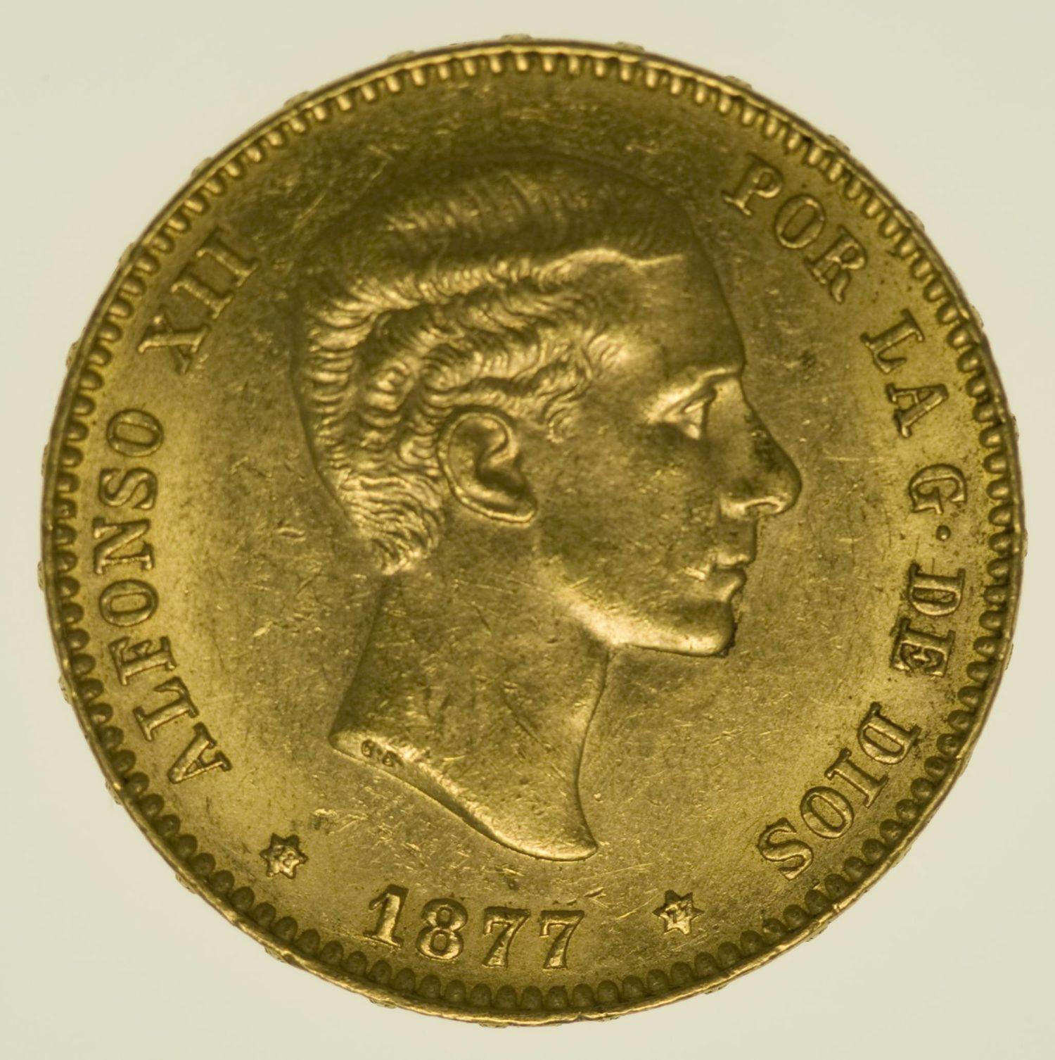Spanien Alfonso XII. 25 Pesetas 1877 / 1877 Gold 7,26 Gramm fein RAR
