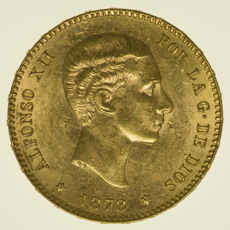 Spanien Alfonso XII. 25 Pesetas 1878 / 1878 Gold 7,26 Gramm fein RAR