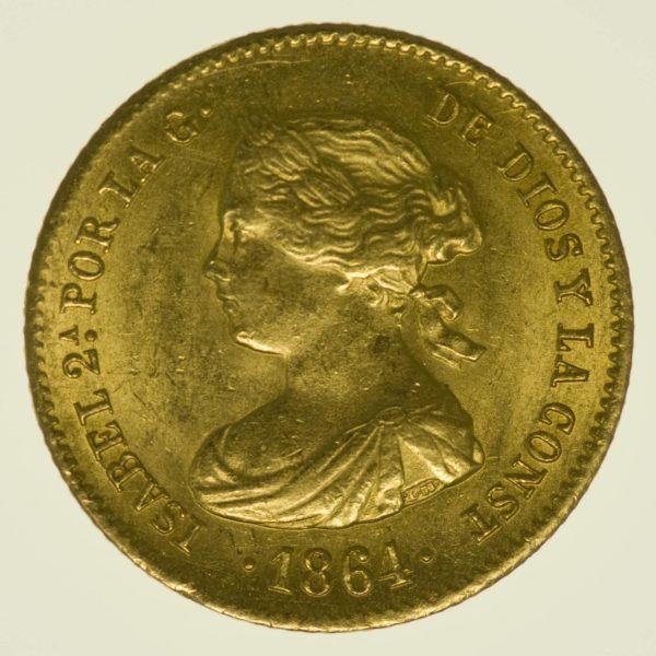 Spanien Isabella II. 40 Reales 1864 Gold 3,01 Gramm fein RAR