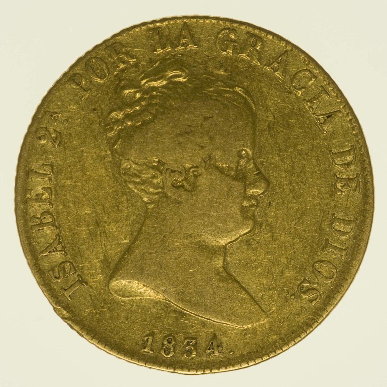 Spanien Isabella II. 80 Reales 1834 Gold 6,68 Gramm RAR
