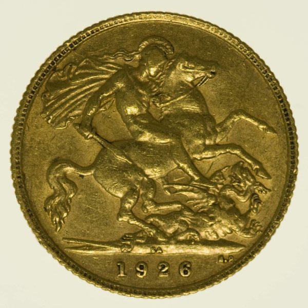 Südafrika George V. 1/2 Sovereign 1926 Gold 3,66 Gramm fein RAR