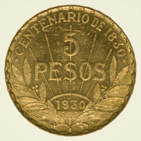 Uruguay 5 Pesos 1930 Gold 7,77 Gramm fein RAR