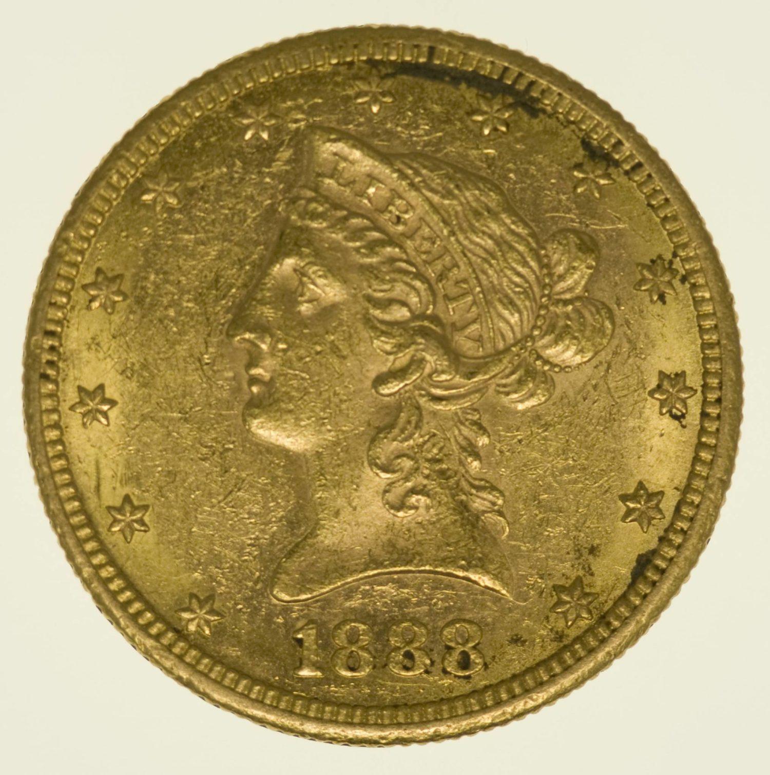 USA 10 Dollars 1888 Liberty / Kopf Gold 15,05 Gramm fein RAR