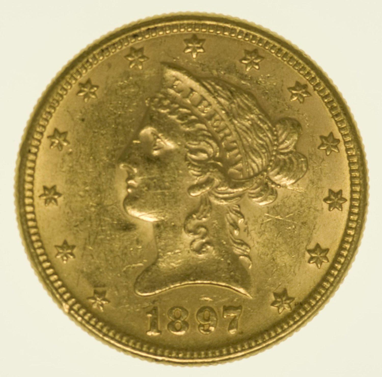 USA 10 Dollars 1897 Liberty / Kopf Gold 15,05 Gramm fein RAR