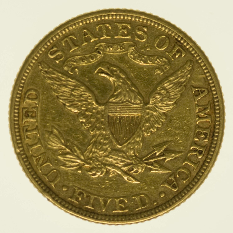 USA 5 Dollars 1885 Liberty / Kopf Gold 7,52 Gramm fein RAR
