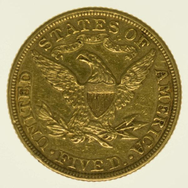 USA 5 Dollars 1885 Liberty / Kopf Gold 7,52 Gramm fein RAR