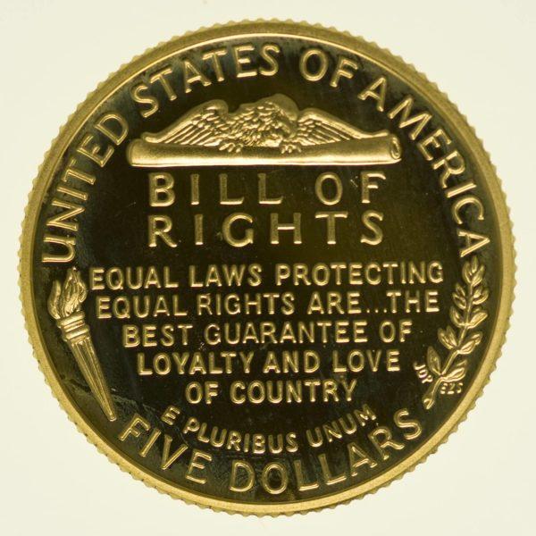 USA 5 Dollars 1993 Freiheitsurkunde proof Gold 7,52 Gramm fein RAR