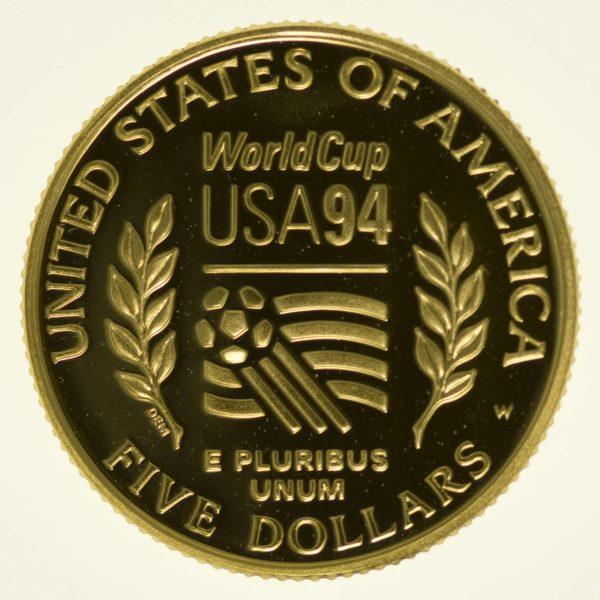 USA 5 Dollars 1994 Fussball Weltmeisterschaft proof Gold 7,52 Gramm fein RAR